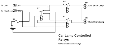 car lamp controlled relays circuit