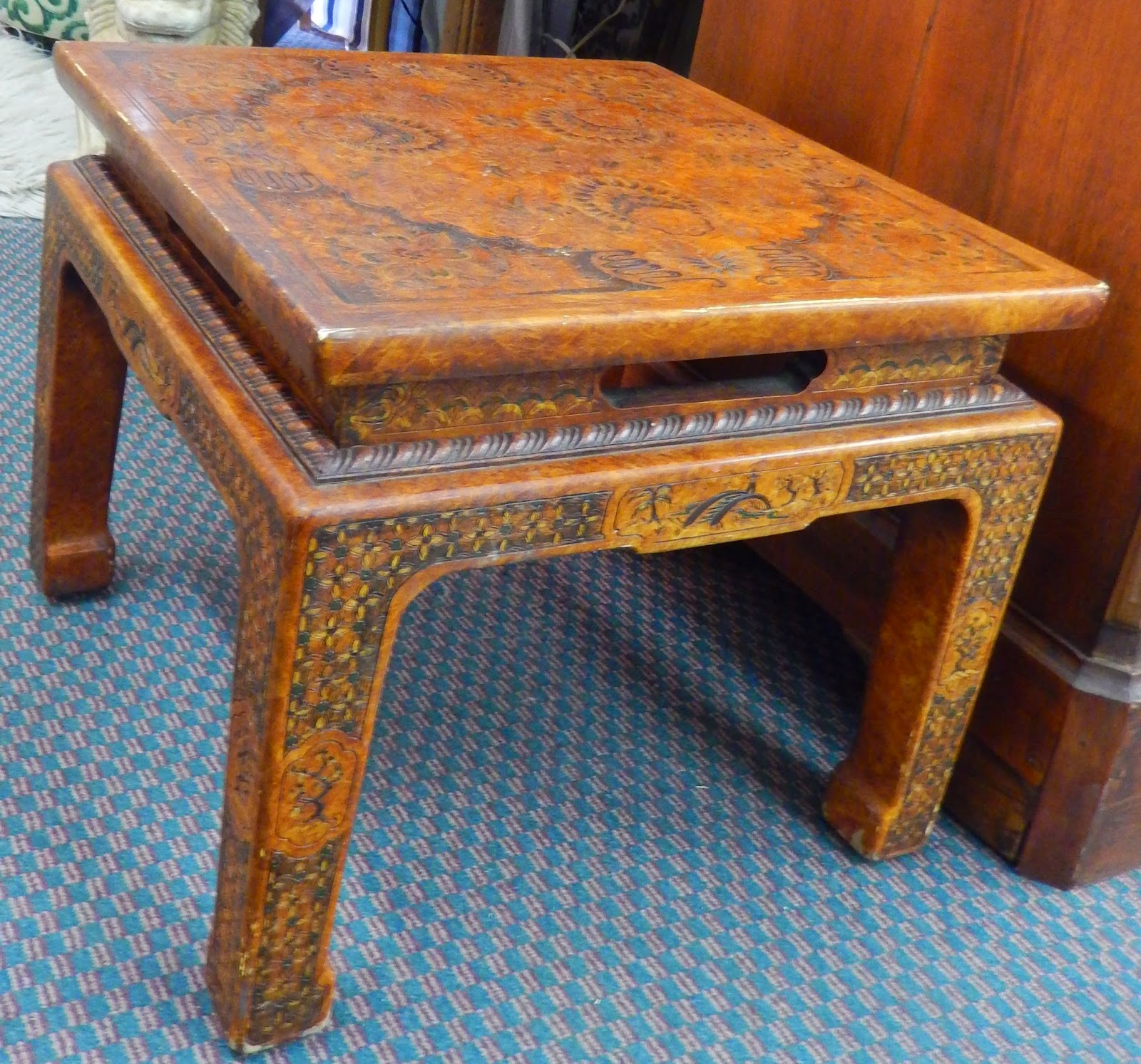 John Widdicomb Dining Table Vintage Carved Asian Style Occasional Sold Newport
