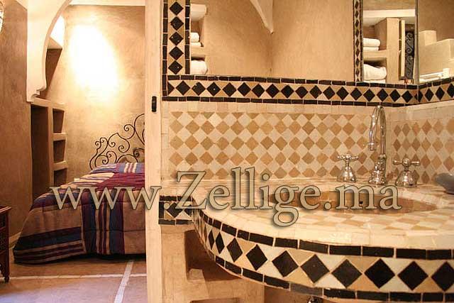 Salle De Bain Marocaine Bleu : … Salle De Bain : Zellige Salle De Bain Moderne Hammam Marocain Salle De