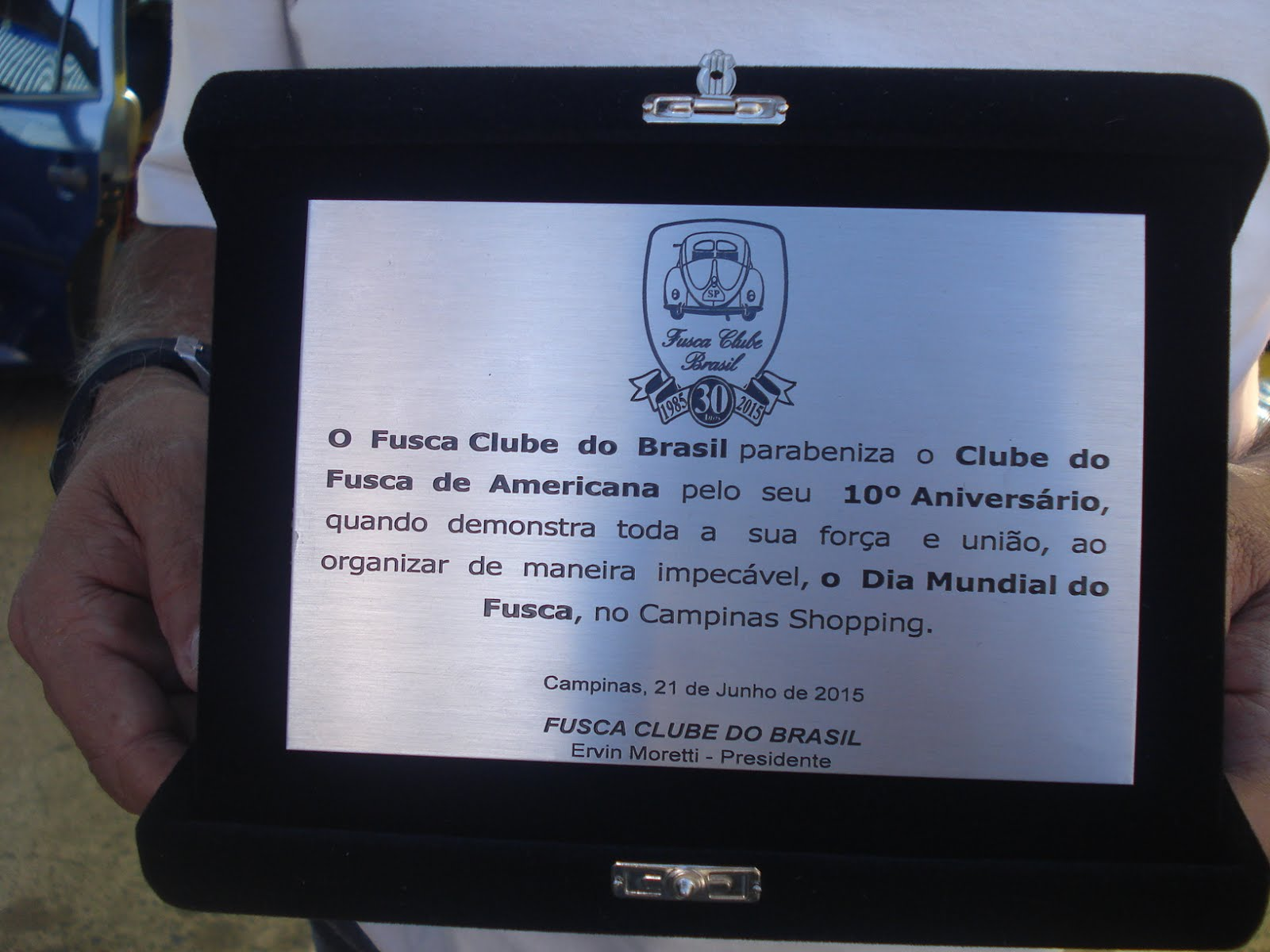 Honraria recebida do Fusca Clube do Brasil