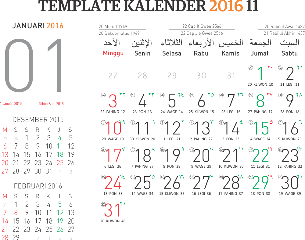 Free Download Pasaran Jawa Dan Kalender Bulan Januari 2015 | New ...