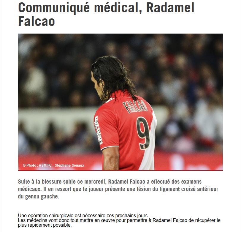 Comunicado oficial lesión Radamel Falcao