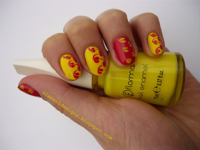 needle yellow and red nails