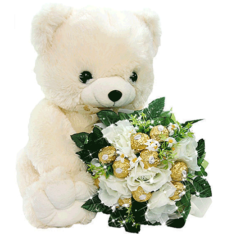 Teddy bear with flowers