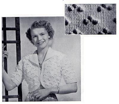 Free 1950's Knitting - Bobble Bolero Pattern