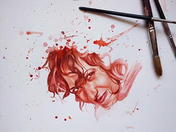 Retrato pintura en acuarela en tonos rojos