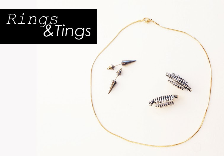 Rings & Tings jewelry, vintage spine ear cuffs, minimal gold tone necklace, crystal metallic spike necklace, trends, accessories