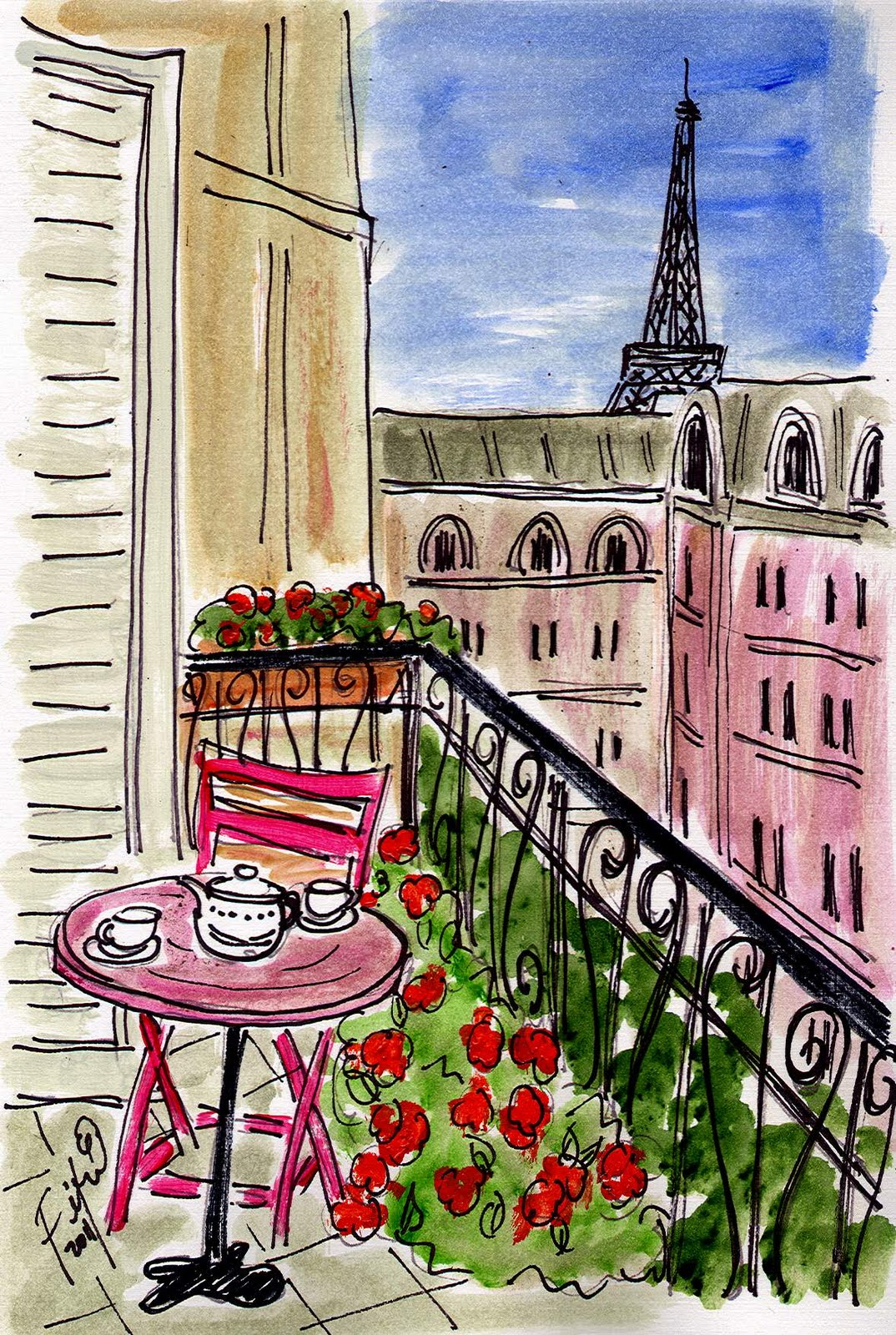 Fifi flowers pink pink pink paris - Arts de la table paris ...