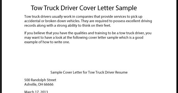 Great Sample Resume: Tow Truck Driver Cover Letter Sample