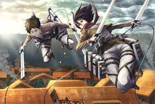 Attack on Titan Shingeki no Kyojin Eren Jaeger Mikasa Ackerman Anime Sword Blade HD Wallpaper Desktop Background