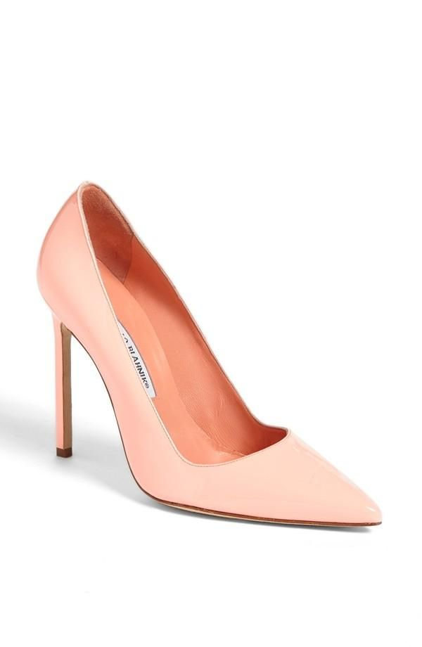 coral pointy toe pump