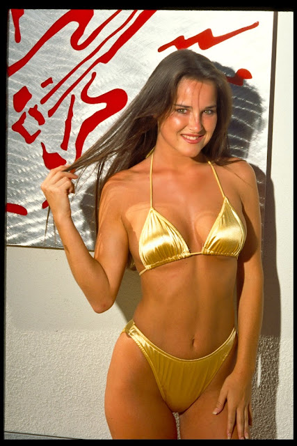 gold colour bikini with sexy model photo 2014