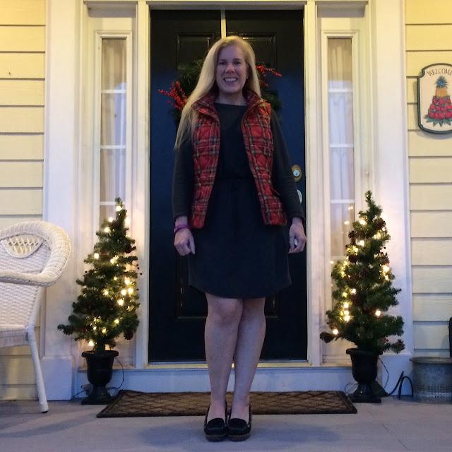 talbots plaid puffer vest preppy lifestyle blogger maryland