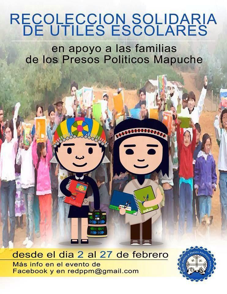 RECOLECCION SOLIDARIA DE ÚTILES ESCOLARES, EN APOYO A LAS FAMILIAS DE LOS PRESOS POLÍTICOS MAPUCHE