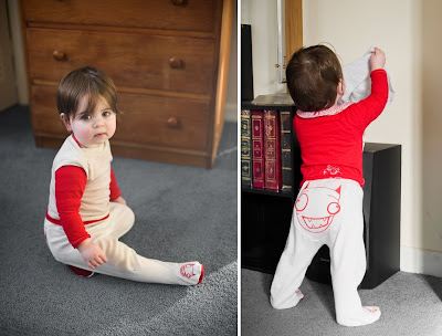 Baby tights with embroidered monster bum and monster feet
