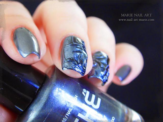 Nail Art effet métal froissé 3D5