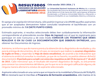 Resultados Exámen Licenciatura UNAM 2015-2016 Sistemas Escolarizado SUAyED Universidad Nacional Autónoma de México