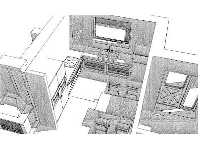 Architekt Rzeszów. Dom jednorodzinny, wizualizacja parteru, kuchnia z jadalnią.