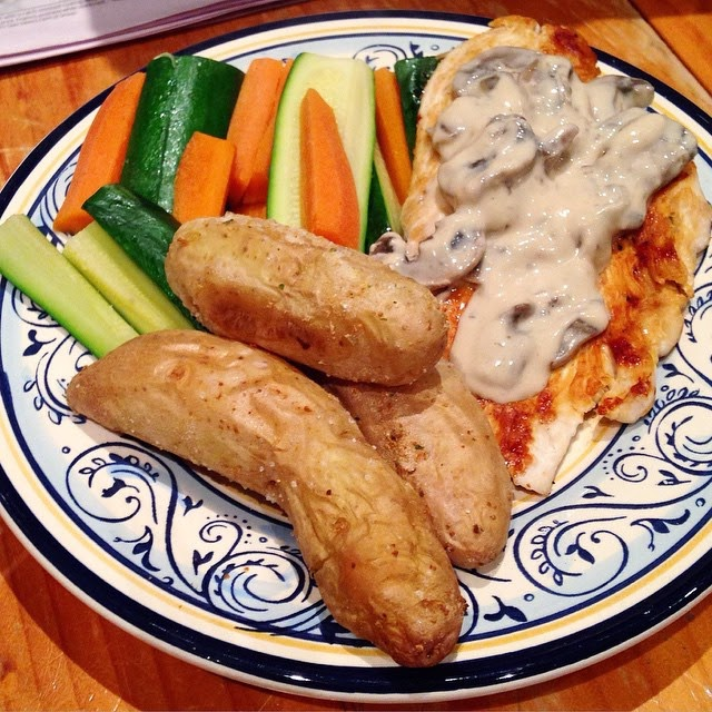 Chicken with Creamy Mushroom Sauce and Roasted Kipfler Potatoes