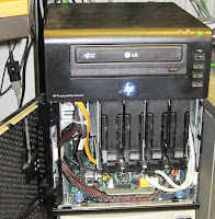 My HP microserver with the front door open
