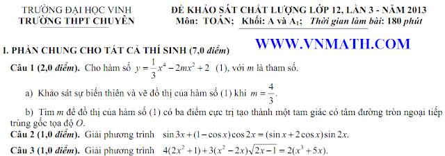 de thi thu mon ly dai hoc vinh lan 3 2013, mon hoa, mon sinh