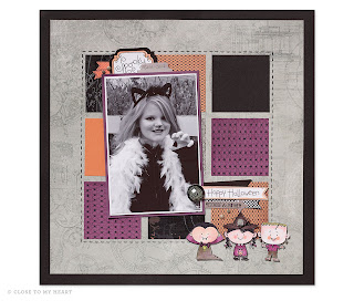 CTMH Nevermore Paper For Halloween Scrapbook Layout