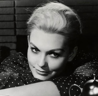 Vintage black and white photo of actress Kim Novak