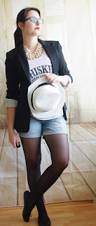 Outfit  Denim Shorts, Whiskey Top, Long Blazer & Hut