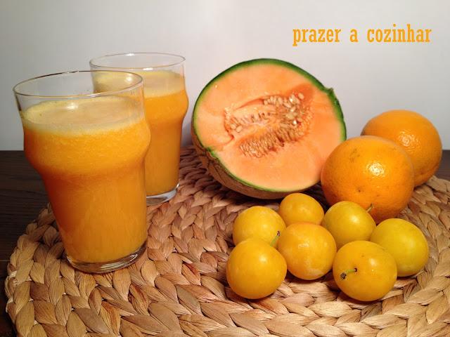 prazer a cozinhar - sumo de ameixa laranja e meloa