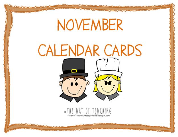Thanksgiving Calendar Art : The art of teaching in today s world november calendar cards