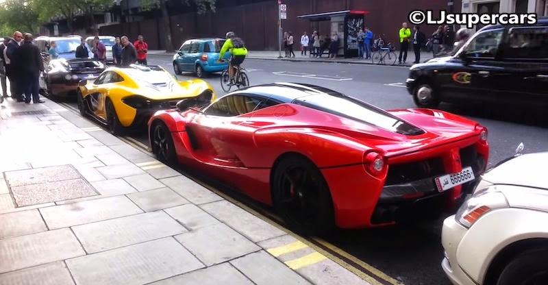 【動画】「ラフェラーリ」と「マクラーレンP1」と「ヴェイロン」が並んで駐車!
