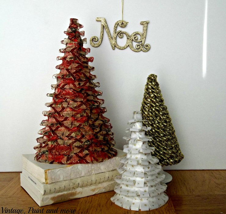 Vintage, Paint and more... Cone trees made with ribbon, gold rope tinsel and poster board