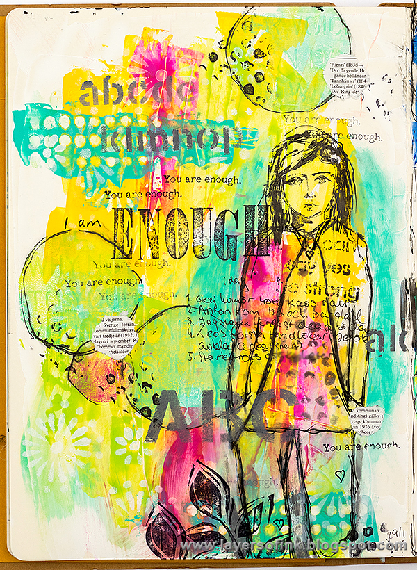 Layers of ink - Enough Art Journal Page by Anna-Karin