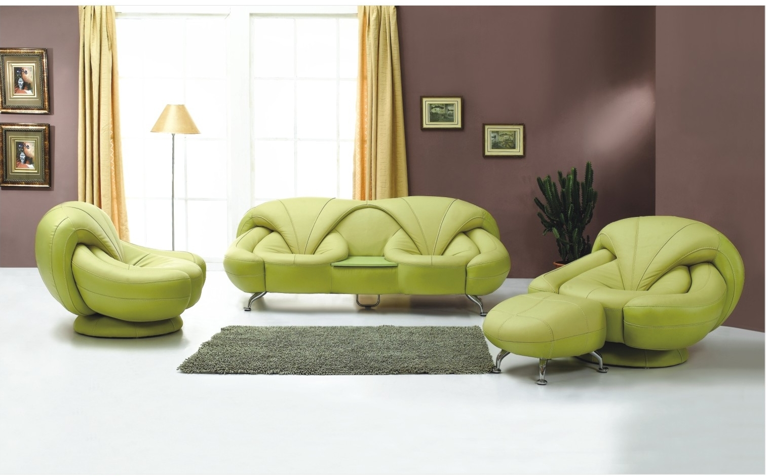 Green Leather Living Room Furniture on Living Room Furniture Design Ideas