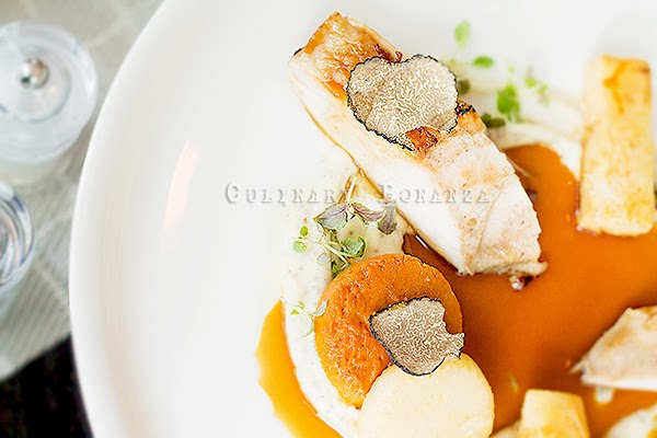 low temperature cooked turkey breast slices served with black truffle, scented winter vegetables puree and roasted turkey bone jus - Culinary Bonanza
