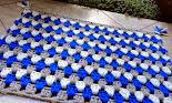Tapete Retangular Cinza-Azul-Branco
