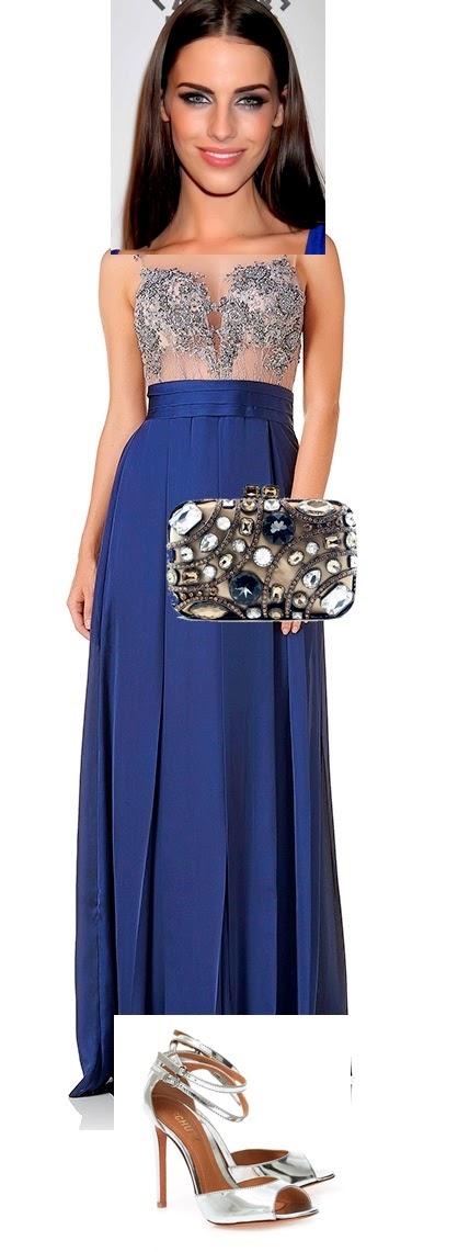 Vestido azul marinho combina com sapato prata