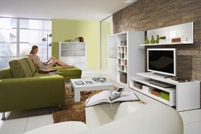 sala moderna sofá verde olivo