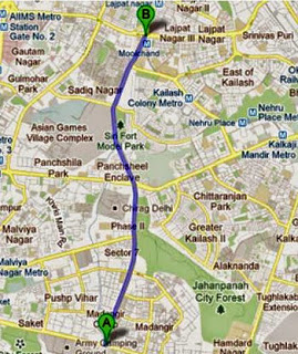 Route Map of South Delhi's Bus Rapid Transit (BRT)