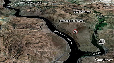 Starbuck, WA and Little Goose dam map.