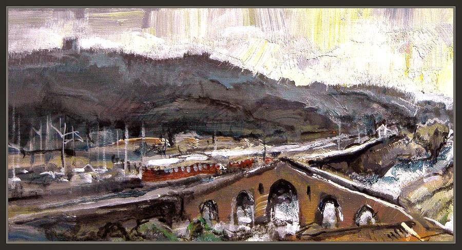 CATALUNYA-PINTURA-MONUMENTS-BARCELONA-MANRESA-PONT-VELL-RIU-FERROCARRILS-TORRE-SANTA CATERINA-PINTURES-ART-PINTOR-ERNEST DESCALS-
