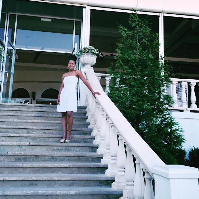 White Dress, Natural Hair, Gold Heels