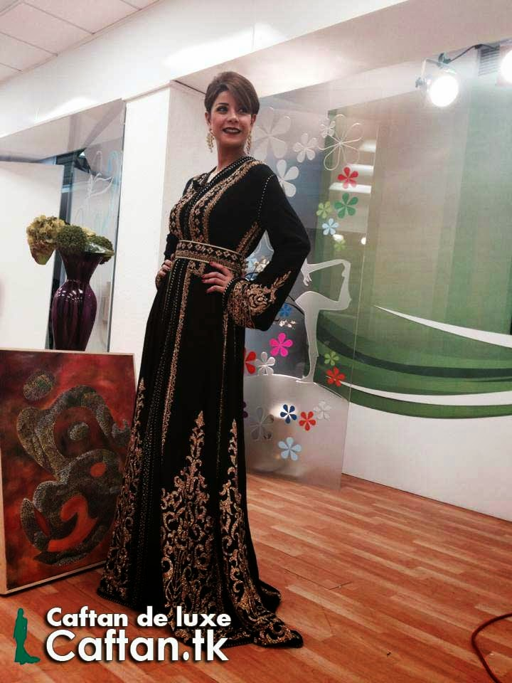 Elegant Caftan noir haut couture