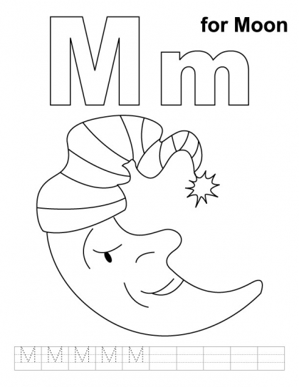 letter m for monkey coloring pages title=