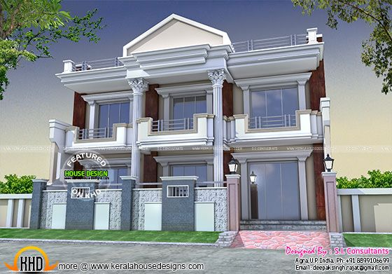 Long Front Pillar Home Design Kerala Home Design
