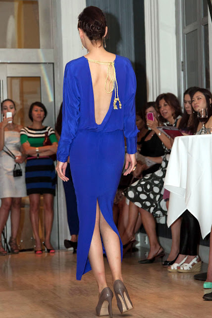 Blue cocktail dress from behind by Singapore based Bahareh Badiei