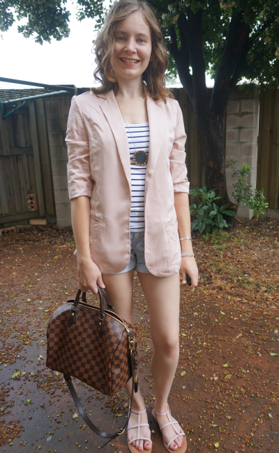 Pastel Pink Boyfriend blazer worn with denim shorts autumn pink