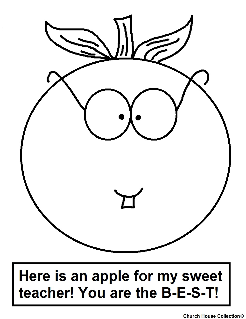 Teacher Apple Coloring Pages : Church house collection january