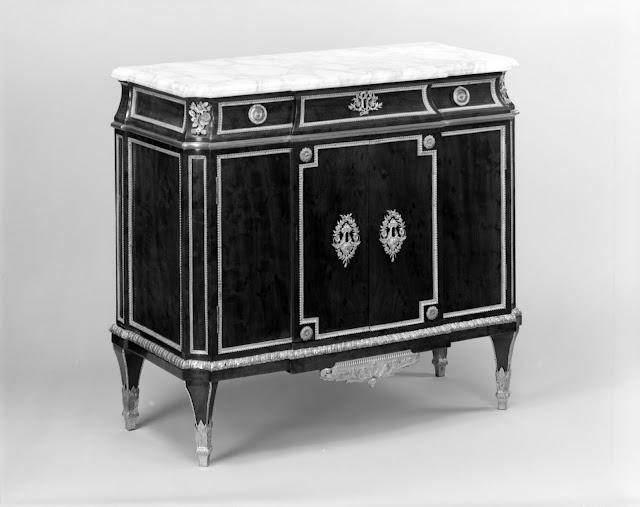 Commode  Jean-Henri Riesener, ca. 1780–90,  Oak, veneered with mahogany, gilt-bronze mounts, marble top