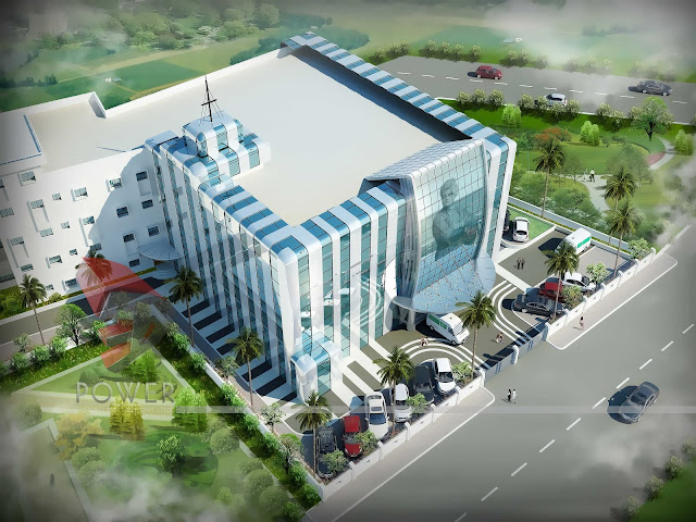 3d visualization,Modern Hospital Exterior